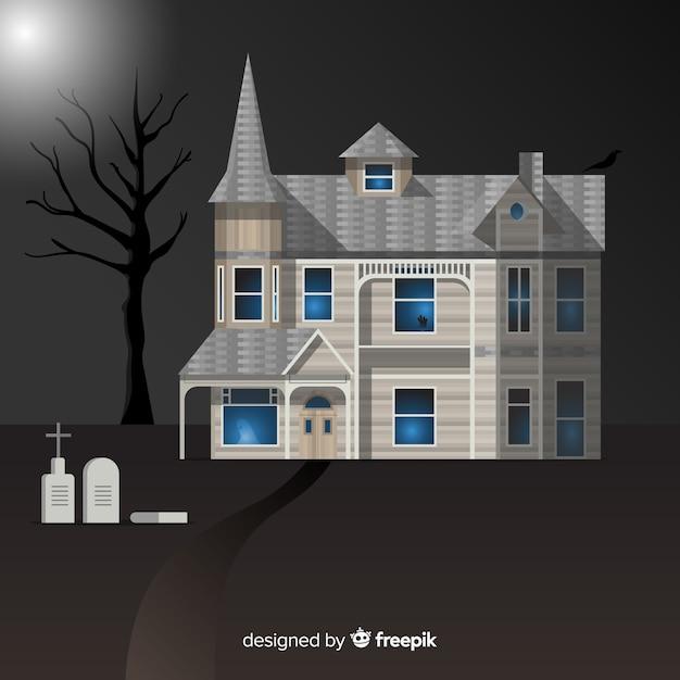 Gespenstischer halloween-hintergrund mit realistischem design Kostenlosen Vektoren