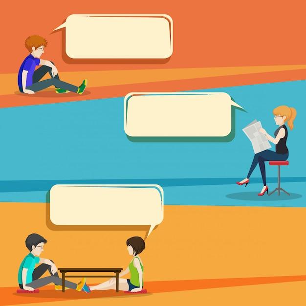 Gesprächsstil infografik mit menschen Kostenlosen Vektoren