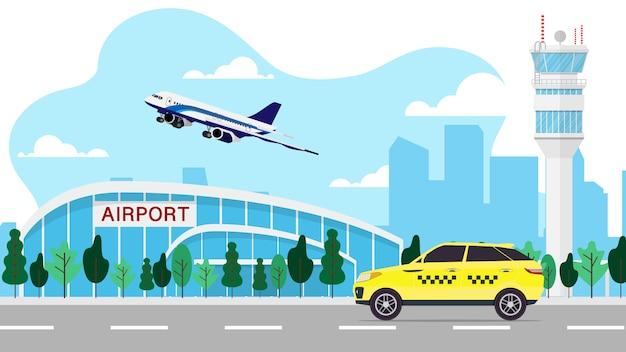 Gestalten sie ansicht des flughafenterminals mit flugsicherungsturm mit flugzeug und taxi landschaftlich Premium Vektoren