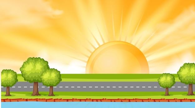 Gestalten sie hintergrunddesign der straße entlang fluss bei sonnenuntergang landschaftlich Premium Vektoren