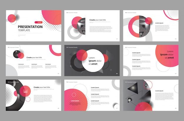 Gestaltung der geschäftspräsentation und layout der broschüre Premium Vektoren