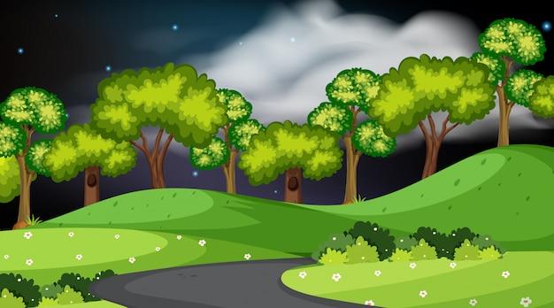 Gestaltung der landschaft mit park bei nacht Premium Vektoren