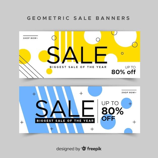 Gestaltung geometrischer banner für angebote und rabatte Kostenlosen Vektoren
