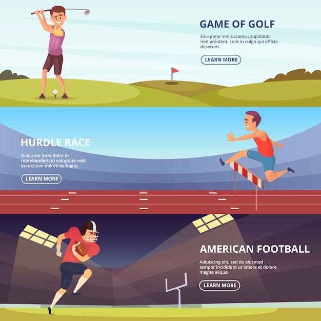 Gestaltung horizontaler banner mit sportvölkern in aktionsposen Premium Vektoren