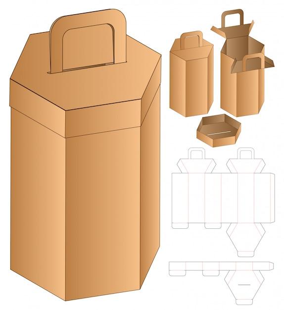Gestanzte schablone für verpackung in hexagon shape box Premium Vektoren