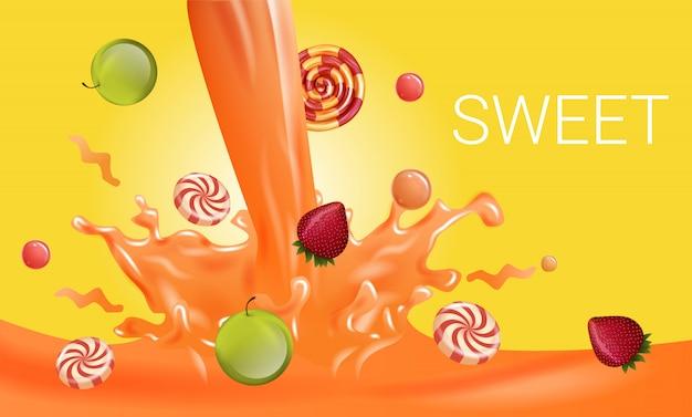 Gestreifte süßigkeiten und frucht-tropfen der orange flüssigkeit Premium Vektoren