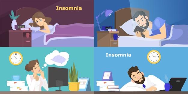 Gestresste menschen, die an schlaflosigkeit leiden. frau und mann ohne schlaf in der nacht. müder charakter bei der arbeit im büro. illustration Premium Vektoren