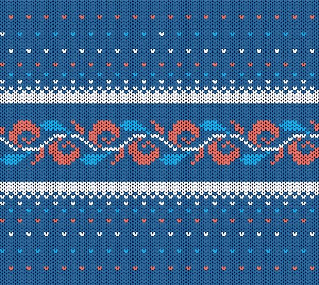 Gestrickte blaue textur. nahtloses weihnachtsmuster. Premium Vektoren