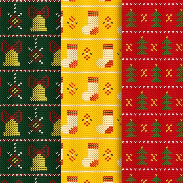 Gestricktes weihnachtsmuster mit socken und glocken Kostenlosen Vektoren