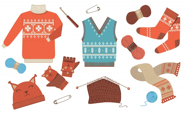 Gestricktes winter- und herbstkleidungs-ikonen-kit Kostenlosen Vektoren