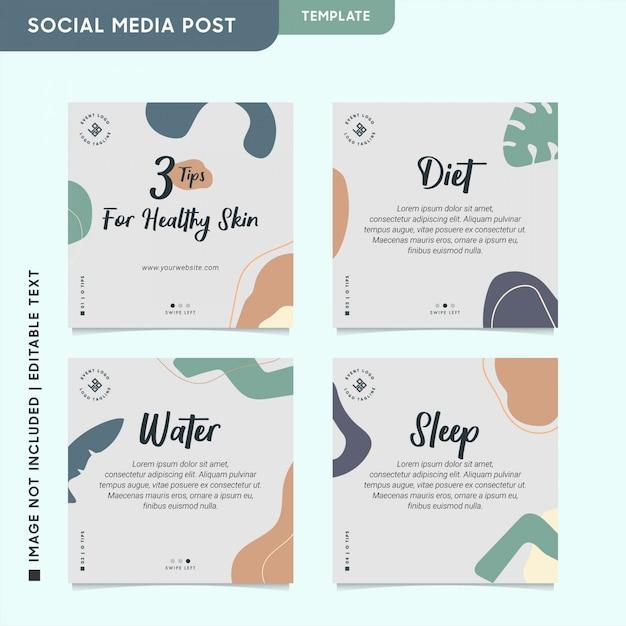 Gesund & beauty instagram beitrag für social media engagement Premium Vektoren