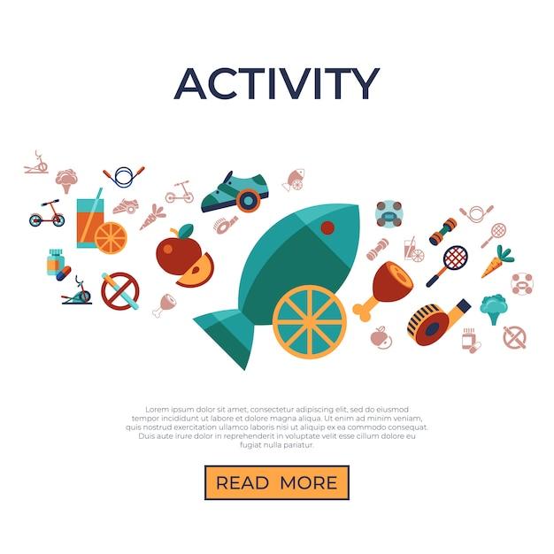 Gesunde aktivitätslebensstilikonen eingestellt Premium Vektoren