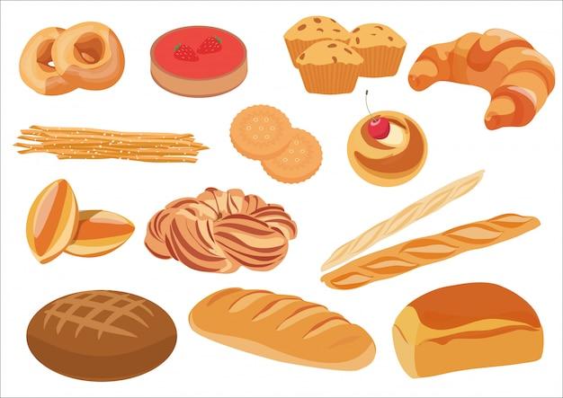 Gesunde brotbäckereiprodukte eingestellt Premium Vektoren