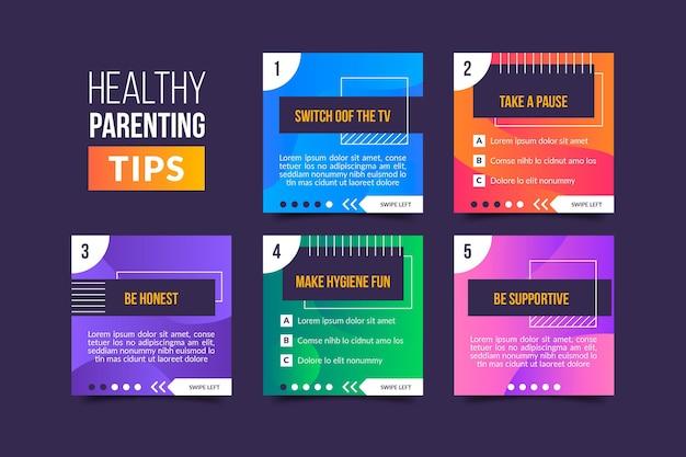 Gesunde elterntipps für instagram Premium Vektoren
