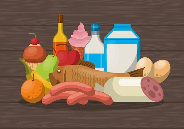 Gesunde ernährung lebensstil Premium Vektoren