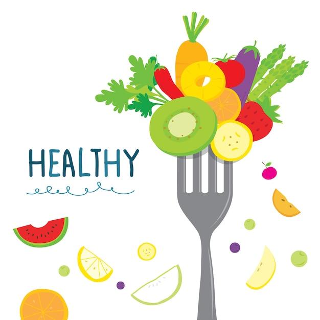 Gesunde fruchtgemüse-diät Premium Vektoren