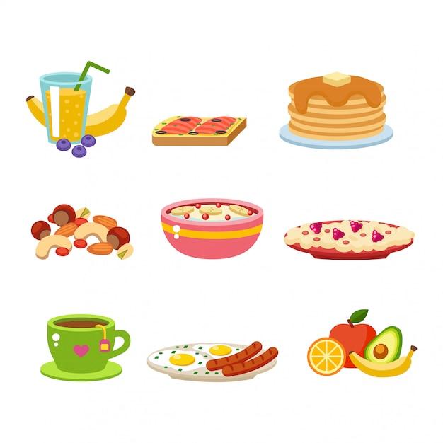 Gesunde frühstücksnahrung-ikonensammlung Premium Vektoren