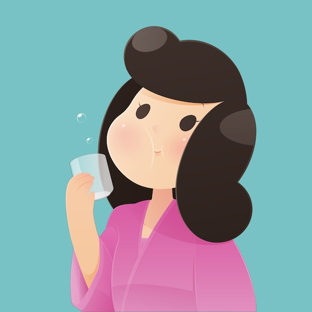 Gesunde glückliche frau, die spült und gurgelt, während mundwasser von einem glas verwendet wird. während der täglichen mundhygiene. zahngesundheitskonzept, vektor und illustration Premium Vektoren
