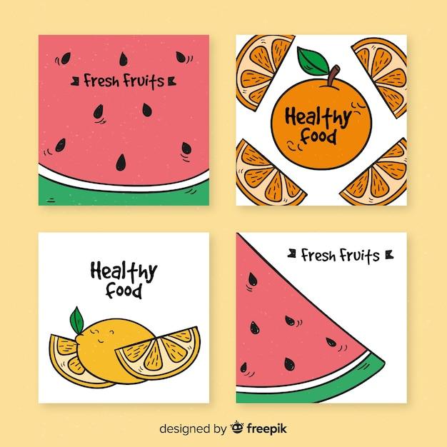 Gesunde kartensammlung der frischen früchte Premium Vektoren