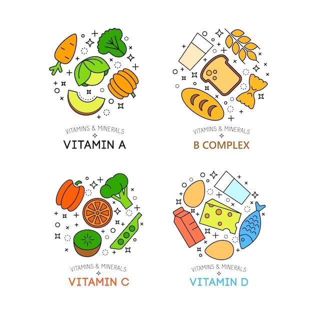 Gesunde lebensmittel hintergrund darstellung. gemüse und obst symbole Kostenlosen Vektoren