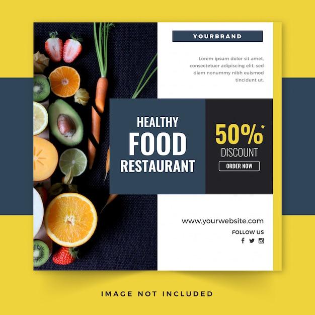 Gesunde lebensmittel instagram-beitragsschablone oder quadratischer flyer Premium Vektoren