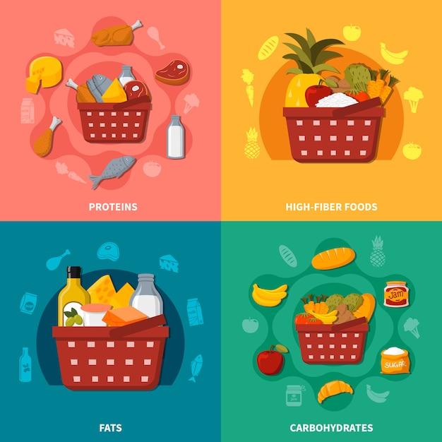 Gesunde lebensmittel supermarkt korb zusammensetzung Kostenlosen Vektoren