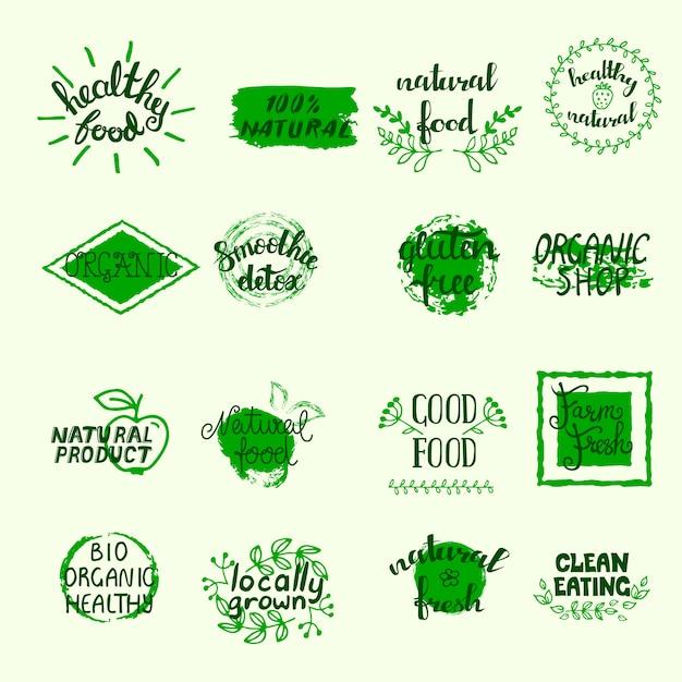 Gesunde lebensmitteletiketten legen mit bio-öko und organischen elementen in grünen farben an Kostenlosen Vektoren