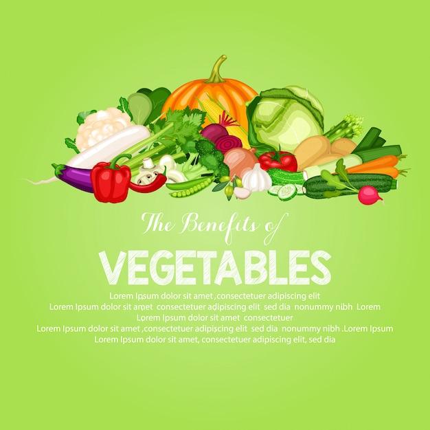Gesunde lebensmittelfahne stellte mit flaches design des gemüses ein Premium Vektoren
