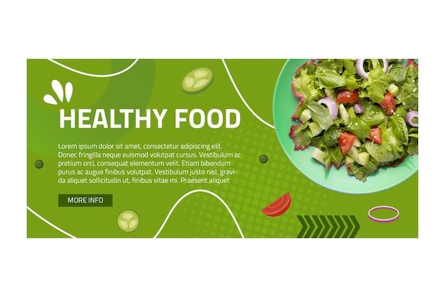 Gesunde lebensmittelfahnenschablone mit foto Kostenlosen Vektoren