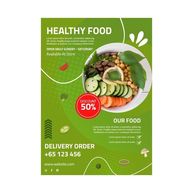 Gesunde lebensmittelplakatschablone mit foto Premium Vektoren