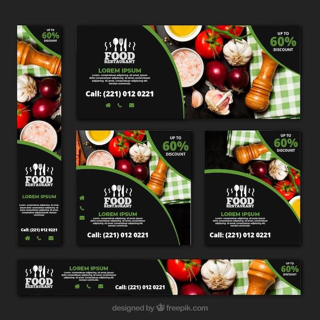 Gesunde lebensmittelrestaurant-fahnensammlung mit fotos Kostenlosen Vektoren
