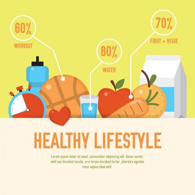 Gesunde lebensweise grafik Kostenlosen Vektoren