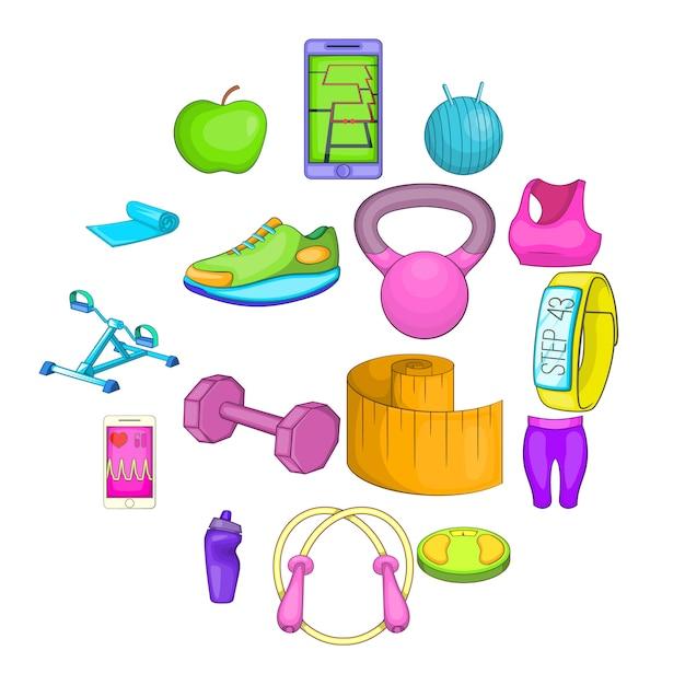 Gesunde lebensweise symbole festgelegt Premium Vektoren