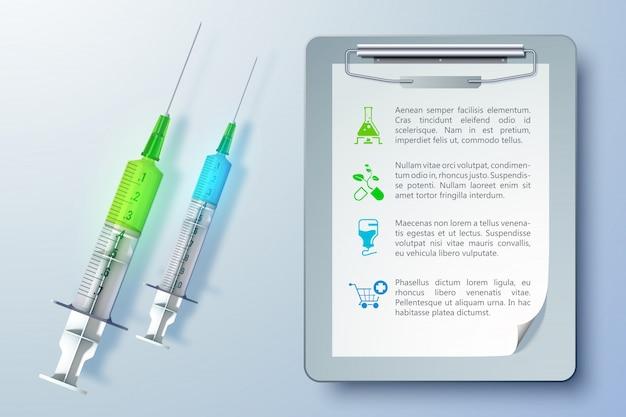 Gesunde medizinische ausrüstungsschablone mit spritzen und zwischenablage in realistischer artillustration Premium Vektoren