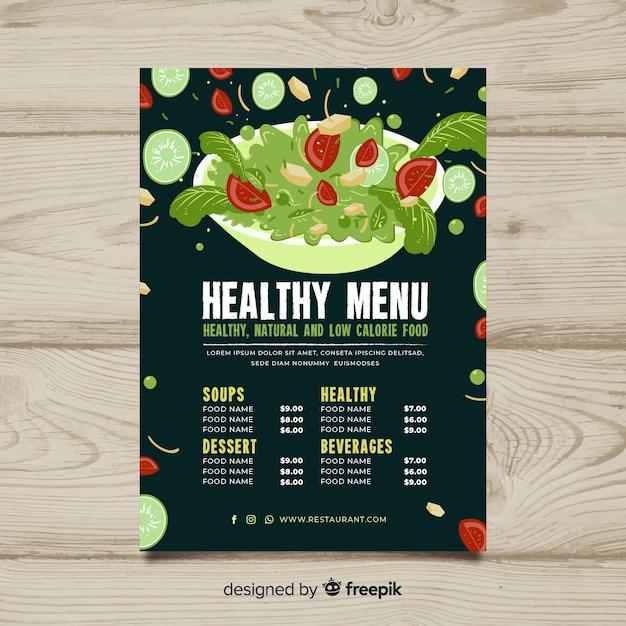 Gesunde menüschablone der salatschüssel Kostenlosen Vektoren
