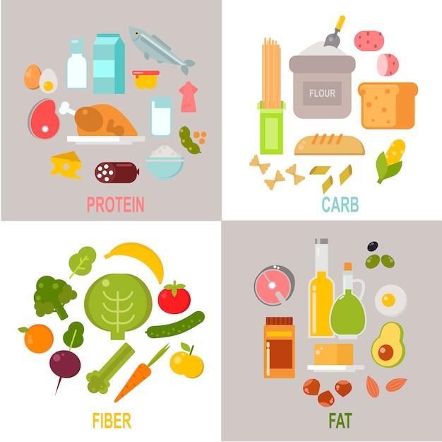 Gesunde nahrung, proteinfett-kohlenhydratvektor der ausgewogenen diät Premium Vektoren