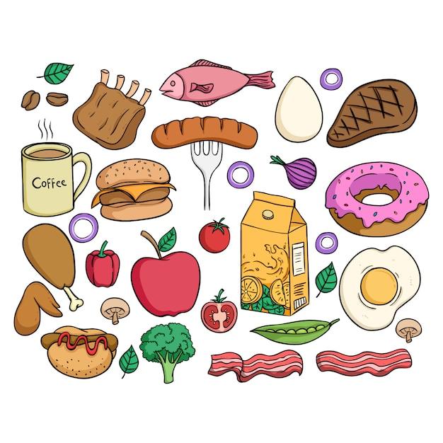 Gesunde nahrungsmittelsammlung mit farbiger gekritzelart auf weißem hintergrund Premium Vektoren