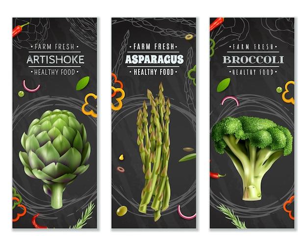 Gesunde nahrungsmittelvertikale fahnen mit gemüse Kostenlosen Vektoren