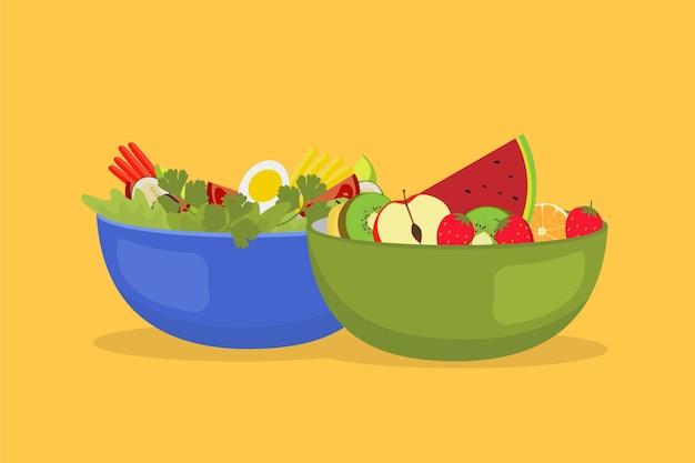 Gesunde obst- und salatschüsseln Kostenlosen Vektoren
