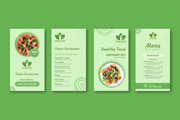 Gesunde restaurant instagram geschichten Kostenlosen Vektoren