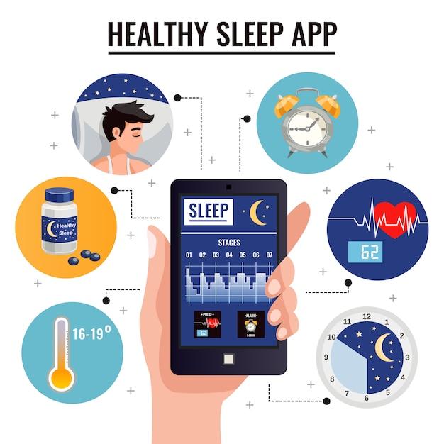 Gesunde schlaf-app-zusammensetzung mit diagramm von schlafstadien auf schirm von smartphone in der menschlichen hand Kostenlosen Vektoren