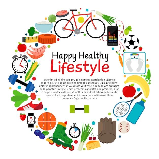 Gesunde und aktive lebensstilvektorkarte Premium Vektoren