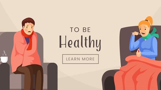 Gesunde web-banner-vorlage zu sein. medizinische klinik, krankenhaus, behandlungseinheit, zielseitendesign, gesundheitswesenindustrie-plakatkonzept. leute mit flacher illustration des grippevirus mit typografie Premium Vektoren