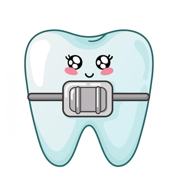 Gesunder kawaii zahn mit netter zeichentrickfilm-figur der zahnmedizinischen klammern Premium Vektoren