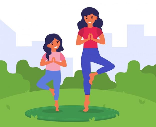 Gesunder lebensstil, fitness für die familie Kostenlosen Vektoren