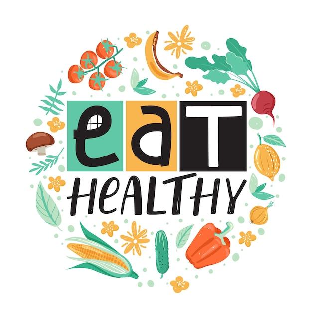 Gesunder lebensstil . gesund essen. Premium Vektoren