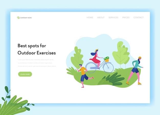 Gesunder lebensstil sport menschen landing page template. sport- und erholungskonzept mit mann und frau charakter reiten fahrrad, skifahren, joggen im park für website, webseite. Premium Vektoren