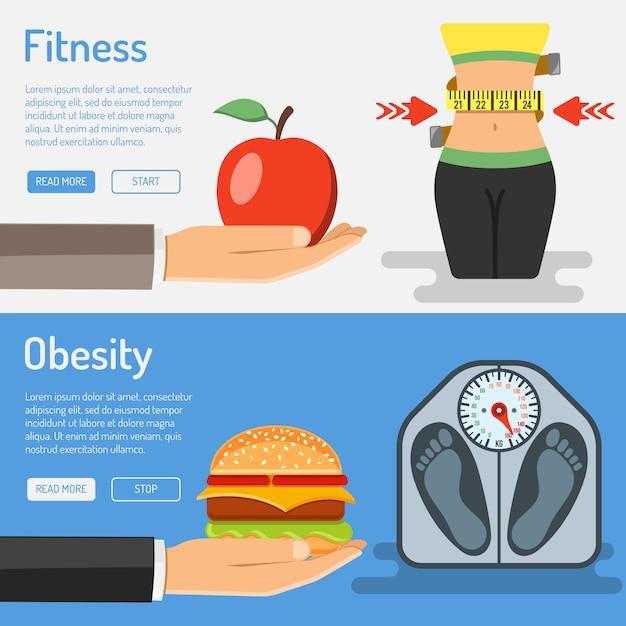Gesunder lebensstil und fettleibigkeit Premium Vektoren