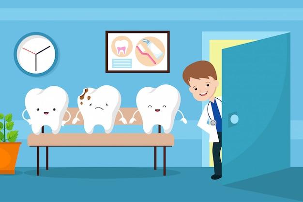 Gesunder mundvektor scherzt konzept. zähne im zahnarztwarteraum Premium Vektoren