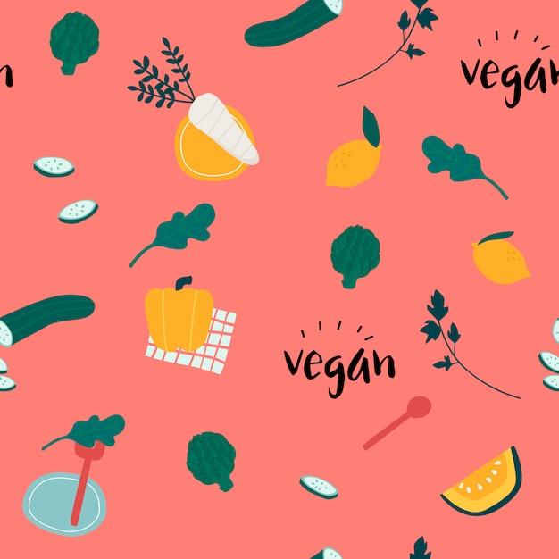 Gesunder nahtloser tapetenvektor des strengen vegetariers Kostenlosen Vektoren